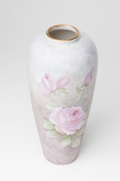 Painted china vase, Eleanor Bisset